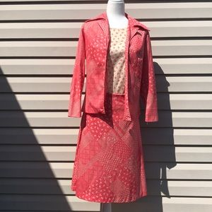 Vtg 70s paisley polyester suit skirt jacket set